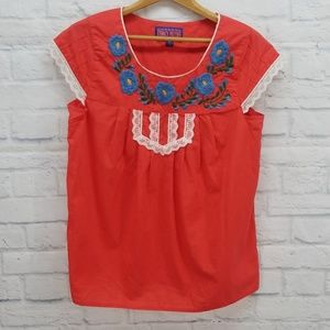 Tracy Feith Tops - Tracy Feith for Target Red Embroidered Shirt S